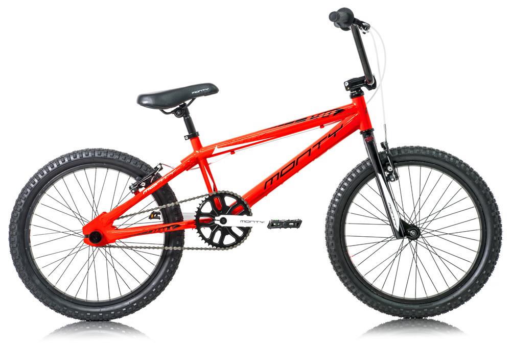 Vista de la bicicleta de BMX 139 naranja de Monty
